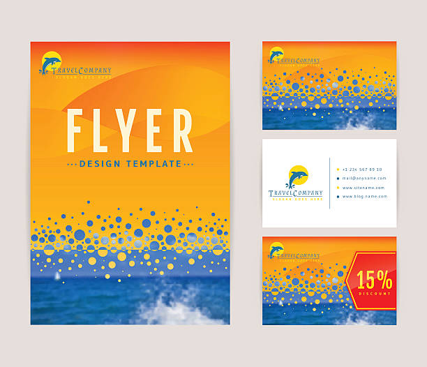 stockillustraties, clipart, cartoons en iconen met corporate identity set for travel company. - newspaper beach