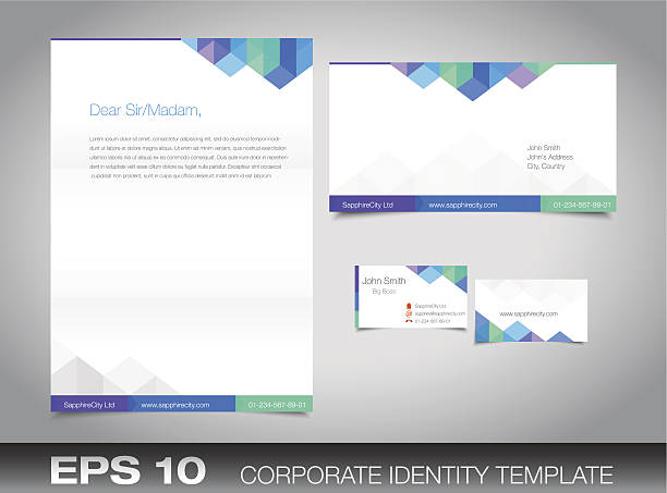 Corporate identity set for your business Corporate identity set or kit for your business including Business Card, Envelope and Letter templates. Vector format, editable, place for text letterhead stock illustrations