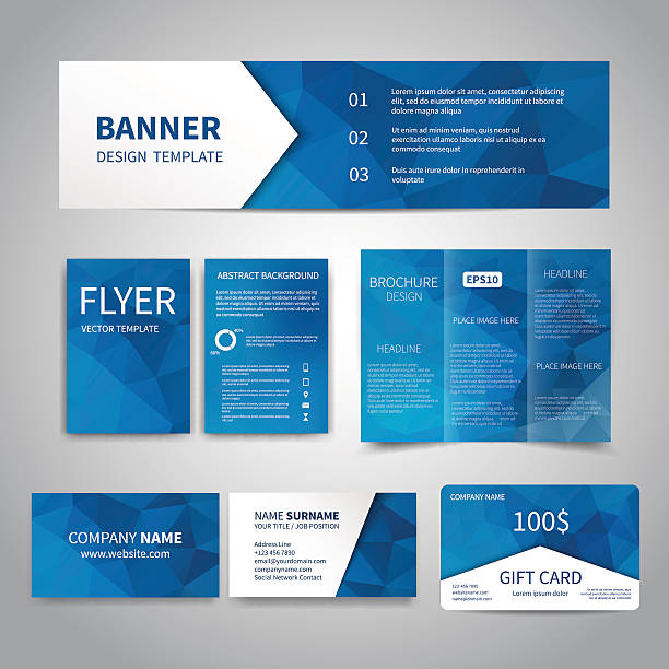 Corporate Identity Set Banner, flyers, brochure, business cards, gift card design templates set with geometric triangular blue background. Corporate Identity set, Advertising, Christmas party promotion printing blue drawings stock illustrations