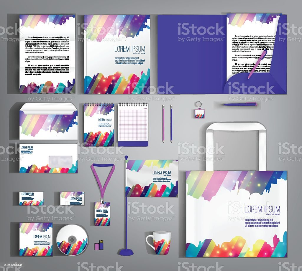 Corporate Identity. Set with colorful designs. vector art illustration
