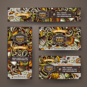 Corporate Identity vector templates set design with doodles hand drawn Cafe theme. Colorful banner, id cards, flayer design. Templates set