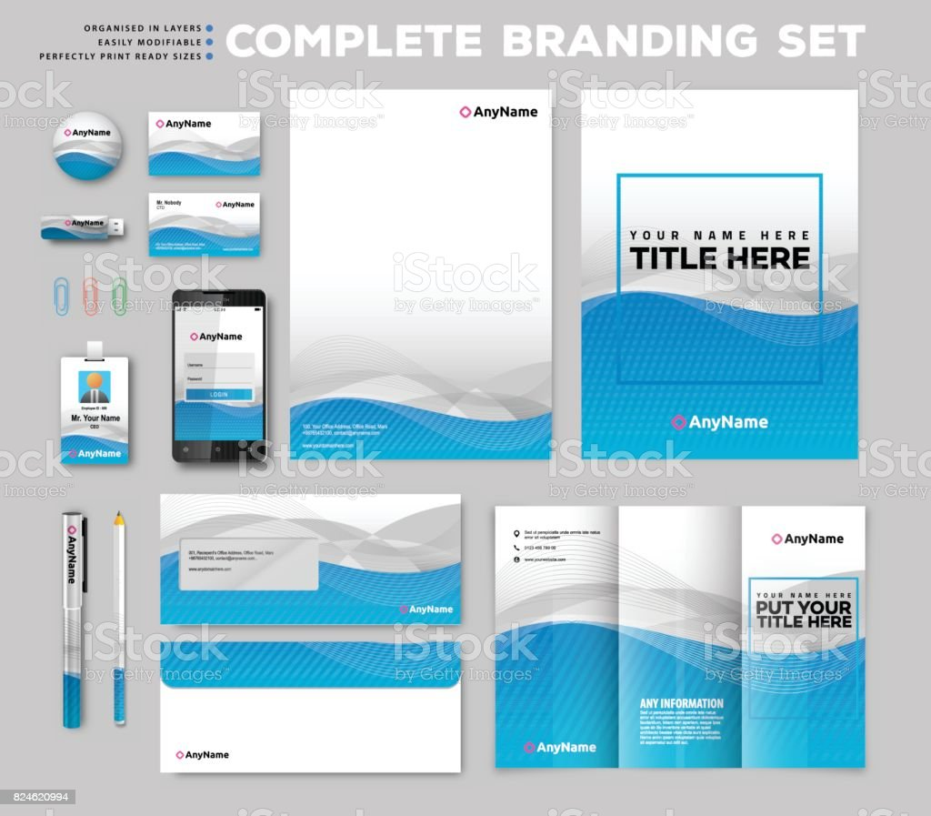 Corporate identity stationary items vector art illustration