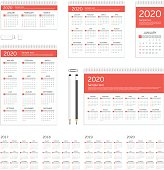Set of 2017, 2018, 2019 and 2020 calendar template brochure geometric design. Corporate identity template set. Branding design. Business stationery mock-up.
