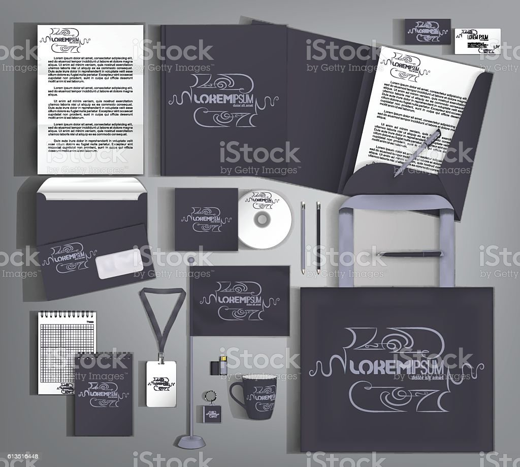 Corporate identity template design with calligraphic elements vector art illustration