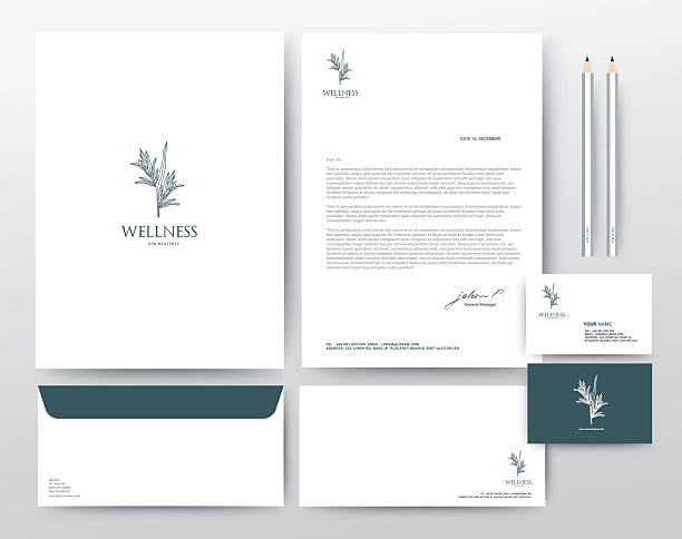 corporate identity template, modern vector illustration - stationery templates stock illustrations