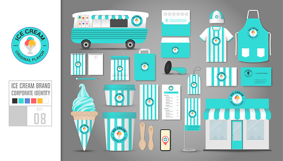 Corporate identity template Set 8.  concept for ice cream shop, cafe, restaurant. Realistic mock up template set of shop, car, t-shirt, apron, cap, cup, menu, rubber stamp, coupon, package, mobile application, name card, tag.