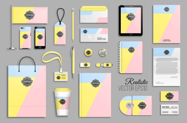 Corporate identity template set and branding design Corporate identity template set. Branding design. Business stationery mock-up with logo. Colorful minimal geometric background stationery templates stock illustrations