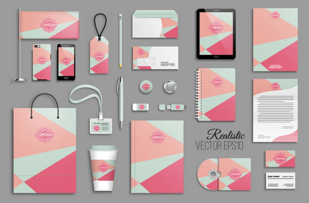 corporate identity template set and business stationery mock-up with emblem - stationery templates stock illustrations