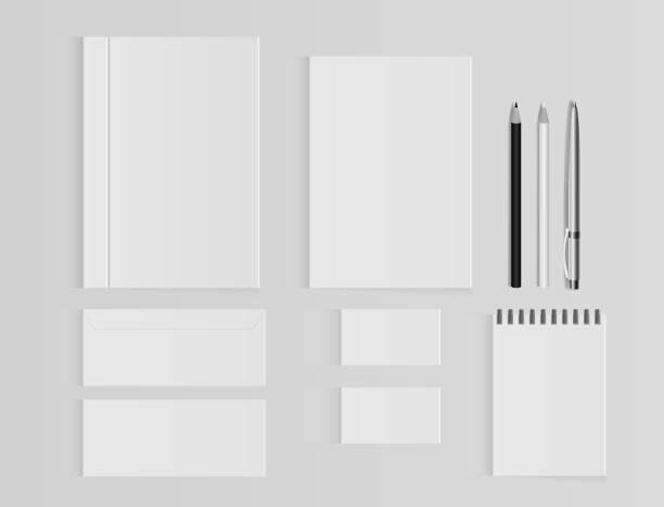 기업의 정체성 서식 파일 집합입니다. 비즈니스 로고 템플릿 편지지 모형입니다. 봉투, 카드, 폴더, 종이 가방, 노트북 등의 집합입니다. 벡터 일러스트입니다. - 서점 stock illustrations