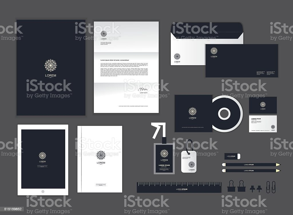 corporate identity template set H corporate identity template for your business includes CD Cover, Business Card, folder, ruler, Envelope and Letter Head Designs H Advertisement stock vector