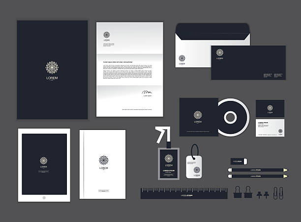 corporate identity template set h - stationery templates stock illustrations
