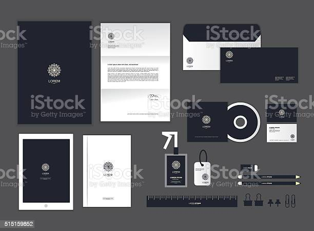 Corporate Identity Template Set H Stock Illustration - Download Image Now