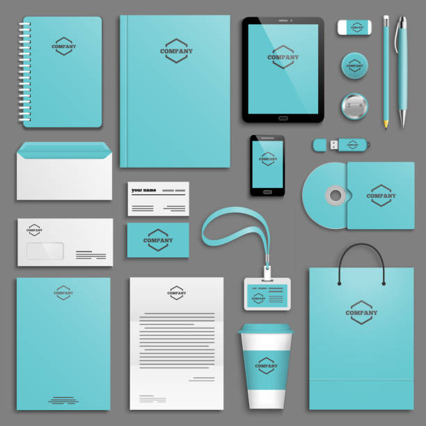 corporate identity template set - stationery templates stock illustrations