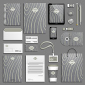 Wooden Trendy Corporate identity template set. Business stationery mock-up with logo. Branding design.