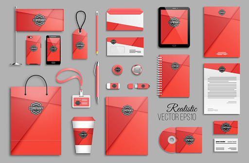 Corporate identity template set with minimal red romantic geometric background and business stationery mock-up with logo