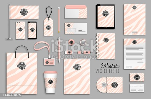 Corporate identity template set with pink zebra stripes abstract background. Business stationery mock-up with logotype. Creative trendy branding design