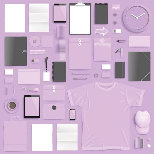 """Corporate identity template Corporate identity template on light purple background. Use layer """"Print"""" in vector file to recolor objects. Eps-10 with transparency. business cards and stationery stock illustrations"""