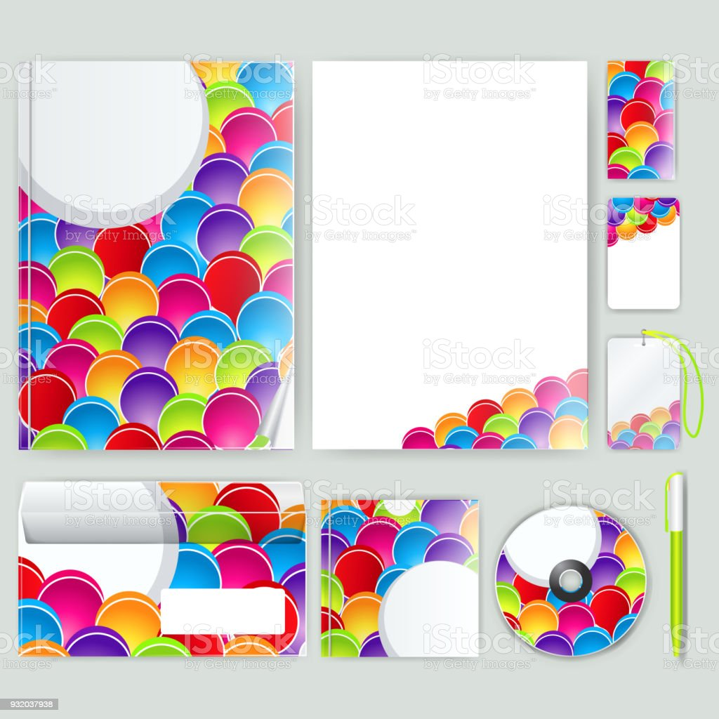 Corporate identity template with color elements. Vector company business style for brandbook, report and guideline. Stationery template with abstract pattern theme illustration. vector art illustration