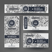 Identity vector templates set with doodles easter theme. Line art design