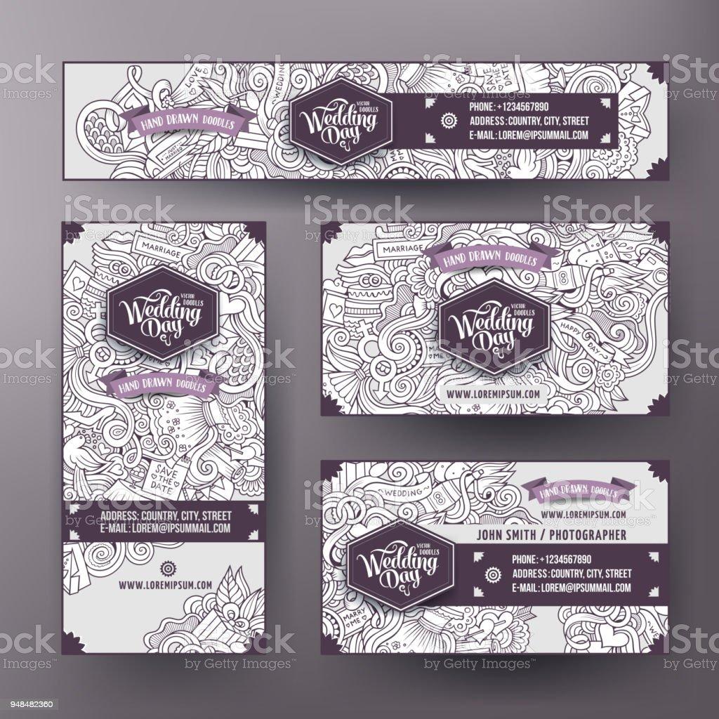 Corporate Identity Templates Set Design With Doodles Wedding Theme ...