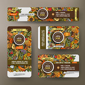 Corporate Identity vector templates set design with doodles hand drawn Thanksgiving theme. Colorful banner, id cards, flayer design. Templates set