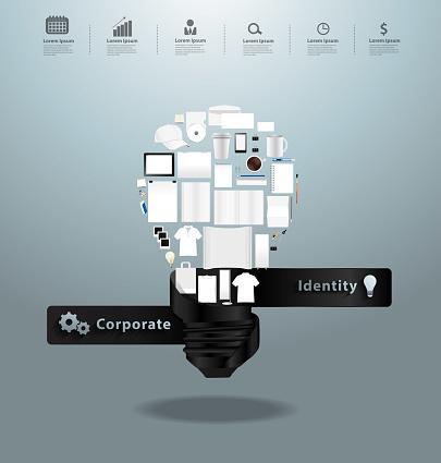 Corporate identity templates with creative light bulb idea