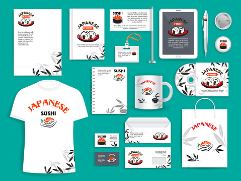 Corporate identity vector items for Japanese sushi