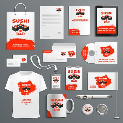 Corporate identity vector items Japanese sushi