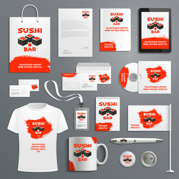 Corporate identity vector items Japanese sushi Sushi Japanese restaurant corporate identity templates of supplies for copmany branding. Vector isolated set of t-shirt apparel, business card, stationery and promo flag, mug and blank or paper bag for sale stock illustrations