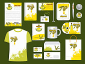 Corporate identity templates of supplies for branding of olive oil farm or olive product company. Vector isolated set of t-shirt apparel, business cards, stationery and promo flags, mug and blanks