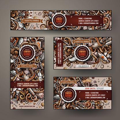 Corporate Identity vector set design doodles Hairdresser theme