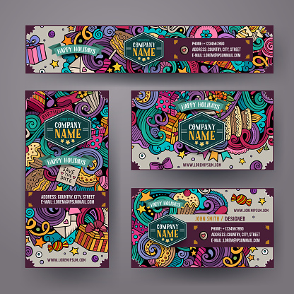 Corporate Identity vector templates set design with doodles Birthday theme