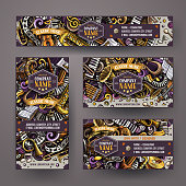 Corporate Identity vector templates set design with doodles hand drawn Classic music theme. Colorful banner, id cards, flayer design. Templates set
