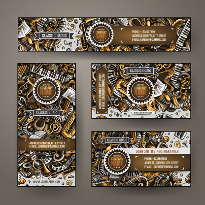 Corporate Identity vector templates set design with doodles hand drawn Classic music theme.