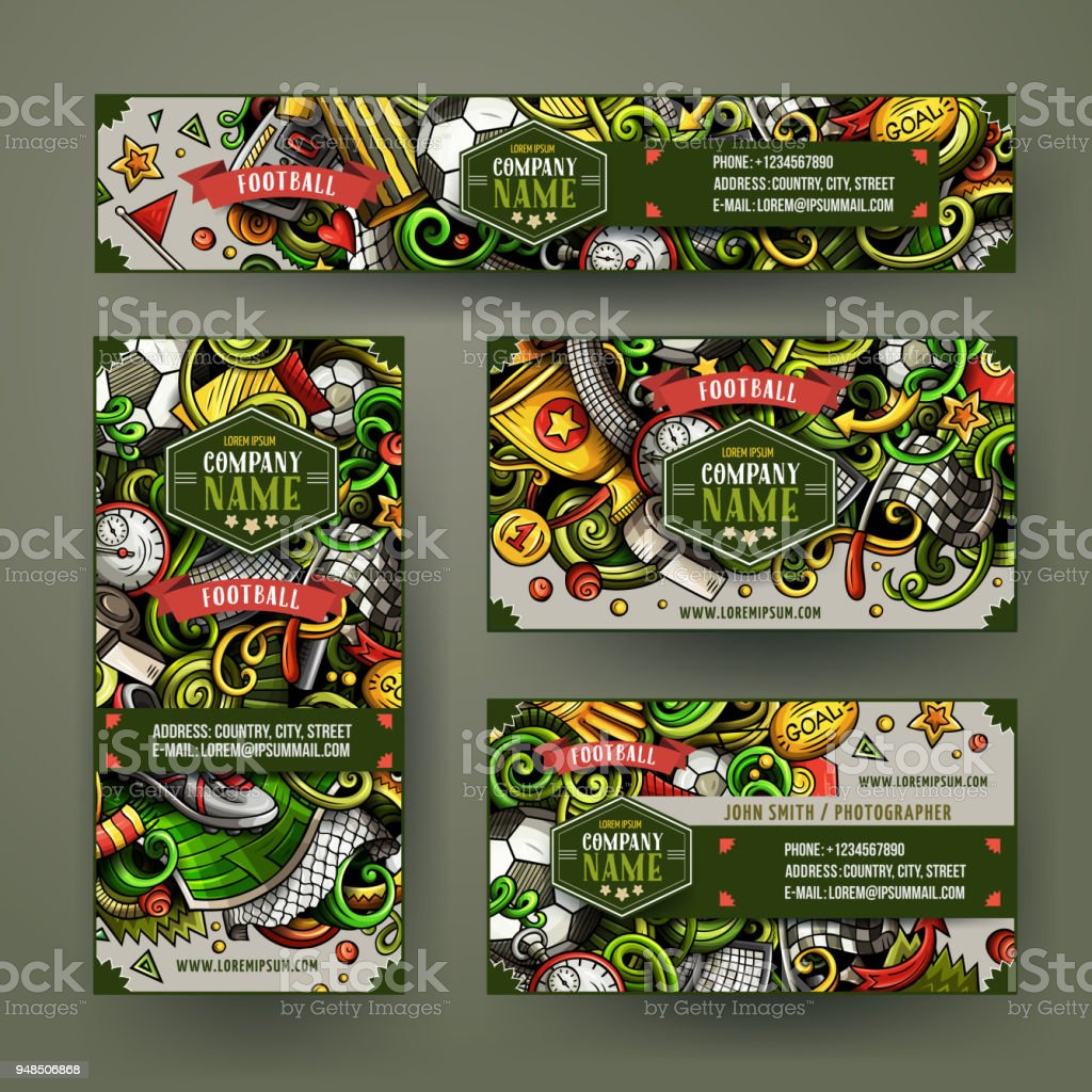 Corporate Identity-Vektor-Vorlagen Bühnenbild mit Kritzeleien handgezeichnete Fußballthema – Vektorgrafik