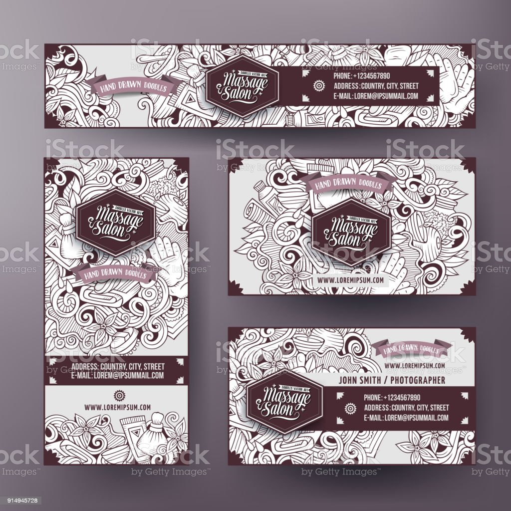 Corporate Identity Vector Templates Set With Doodle Massage Theme ...