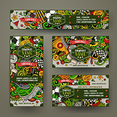 Corporate Identity vector templates set design with doodles hand drawn Soccer theme. Colorful banner, id cards, flayer design. Templates set