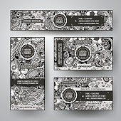 Corporate Identity vector templates set design with doodles hand drawn Soccer theme. Line art banner, id cards, flayer design. Templates set