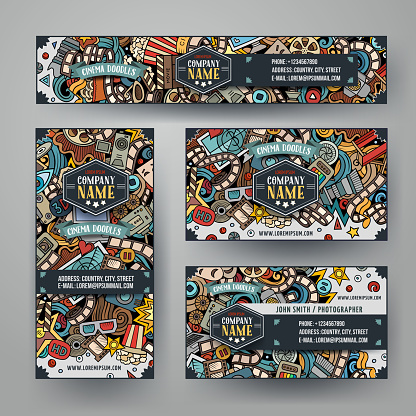 Corporate Identity vector templates set with doodles Cinema theme