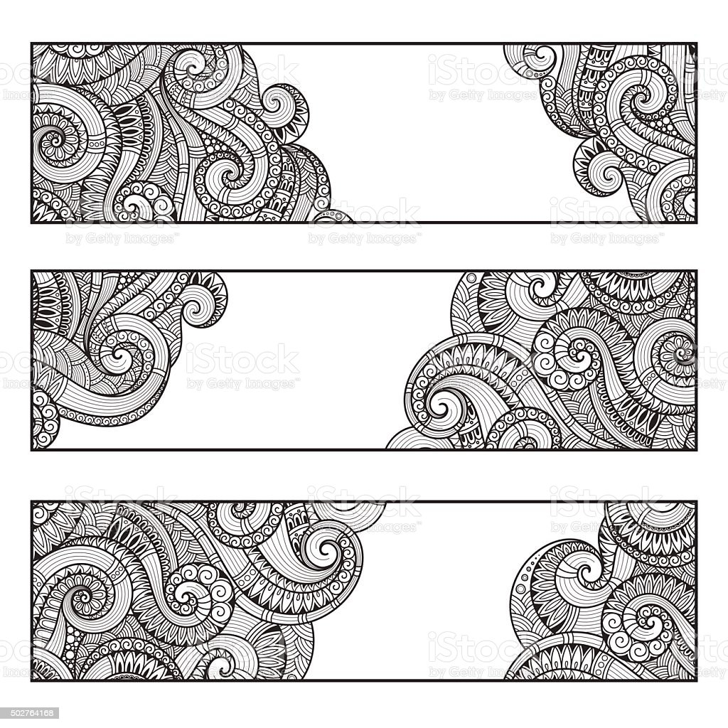 Corporate Identity vector templates set with doodles paisley the vector art illustration