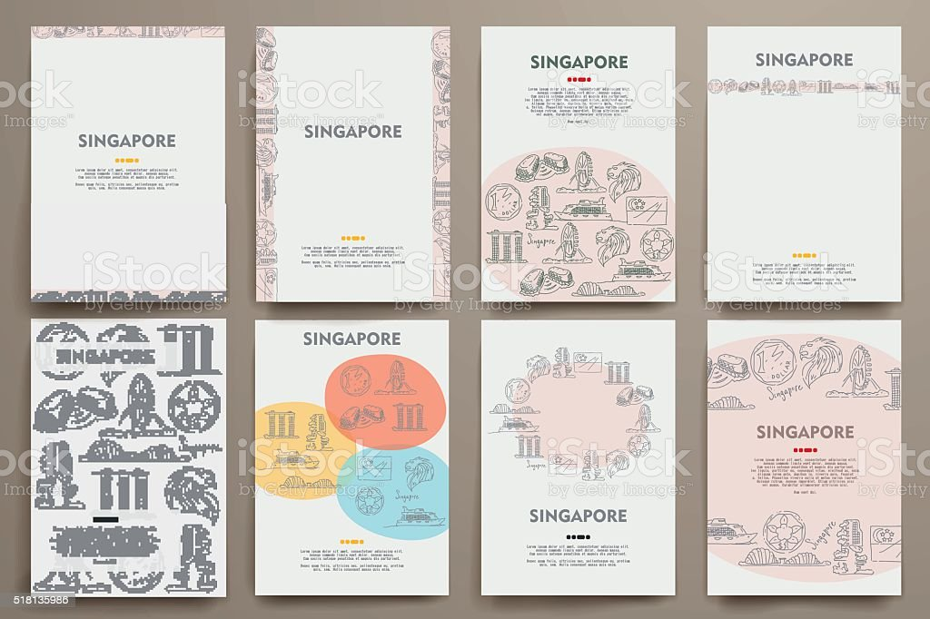 Corporate identity vector templates set with doodles Singapore theme vector art illustration
