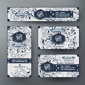 Corporate Identity vector templates set design with doodles hand drawn Sport theme. Line art banner, id cards, flayer design. Templates set