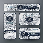 Corporate Identity vector templates set design with doodles hand drawn Winter theme. Line art banner, id cards, flayer design. Templates set