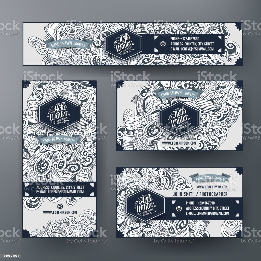 Corporate Identity with doodle cartoon Winter theme - ilustração de arte vetorial