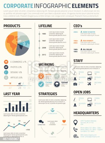 Corporate business infographic cv elements template vector