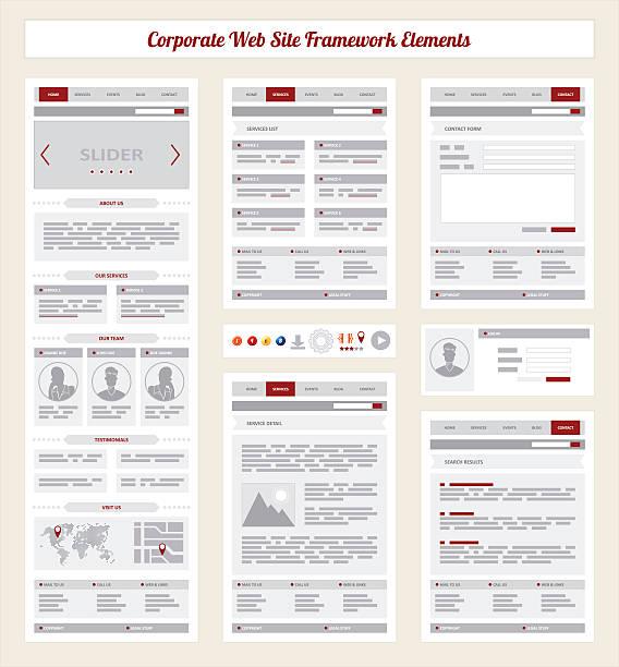 corporate internet site navigation map, structure prototype framework - wire frame model stock illustrations