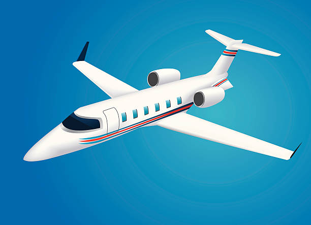 Corporate Jet Vector illustration of a business jet. Ai file included. private airplane stock illustrations