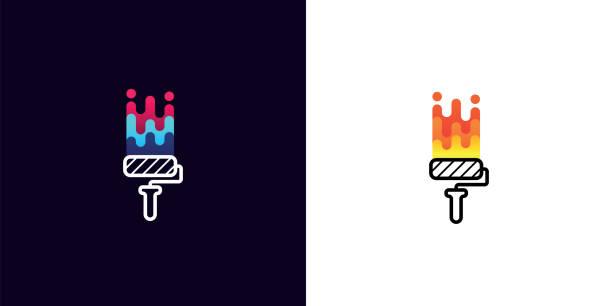 illustrations, cliparts, dessins animés et icônes de logo de la société brosse rouleau à peinture multicolor sur fond blanc et noir. idée pour élément de design style, étiquette ou l'emblème de compagnie. rouleau à peinture couleur isolé sur fond blanc et noir - logo peintre en batiment