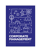 Corporate Management Concept Line Style Cover Design for Annual Report, Flyer, Brochure.
