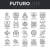 Modern thin line icons set of corporate management and business leader training. Premium quality outline symbol collection. Simple mono linear pictogram pack. Stroke vector symbol concept for web graphics.